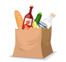 纸袋里的食物矢量素材