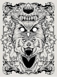 猫头鹰与熊插画