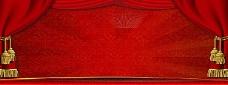 红色展板背景