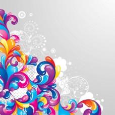 炫彩动感花纹装饰背景图