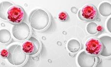玫瑰立体3D背景墙图片