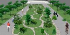 园林鹅卵形绿化地块