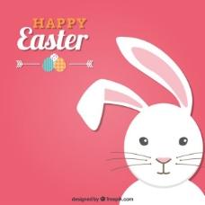 带一只兔子的粉红色的复活节卡片