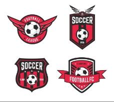 4款红色足球标签矢量素材