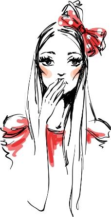 手绘水彩美女