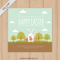 手绘的兔子在景观复活节卡