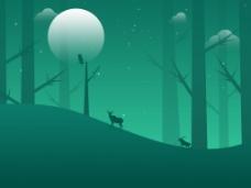 夜晚有意境的森林小画