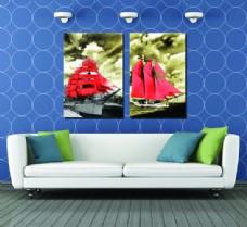 红色帆船壁画