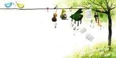 花草小鸟乐器插画psd素材