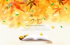 韩国手绘枫叶秋天背景psd素材