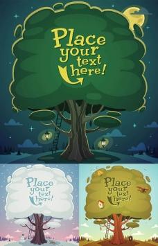 卡通树木背景矢量素材