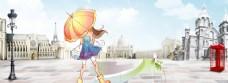 城市街上打伞女孩