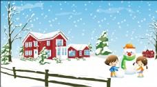 卡通人物 堆雪人