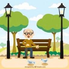祖父坐在长椅上