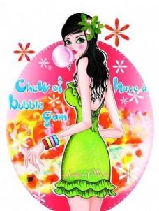 时尚女孩 彩绘人物 分层 PSD _0019