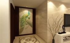 背景墙设计尚佳品革中式经典孔雀