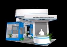 蓝色背景公司展览效果图