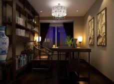 书房装饰,书柜模型,桌椅组合
