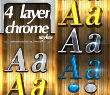 4款金属艺术字设计PS样式