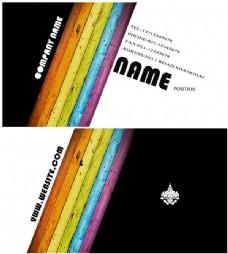 时尚彩虹条纹黑白个人名片设计模板psd