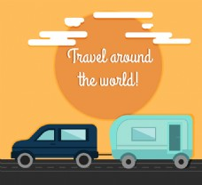 私家车和房车环球旅行插画矢量素材