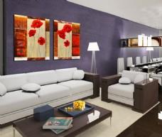 客厅红色花朵装饰画