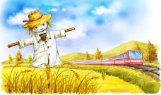手绘麦田里的稻草人与列车插画