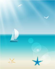 海洋帆船背景矢量素材