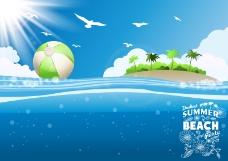 海边热带岛屿背景矢量素材