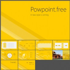 黄色背景极简风格PPT模板