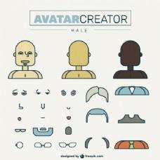 平面设计中的男性头像创作者