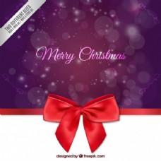 带弓的圣诞紫色背景