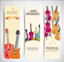 卡通提琴banner矢量素材图片