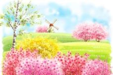 开满花的山坡和风车图片