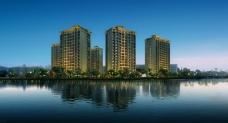 湖畔小区景观效果图PSD素材