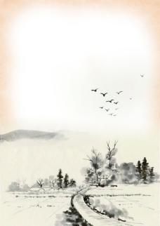 水墨中国画欣赏PSD分层素材