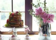 蛋糕与花图片