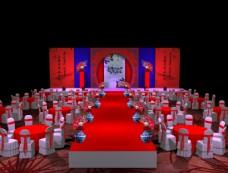 红蓝撞色搭配主题婚礼