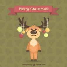 圣诞卡和驯鹿