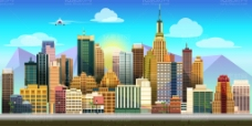 时尚扁平化城市插画矢量素材 高楼大厦
