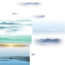 水墨山水画背景PSD分层素材