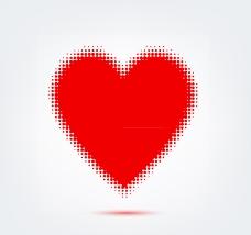 红色圆点组合爱心矢量素材