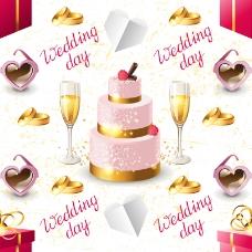 香槟与蛋糕背景矢量素材