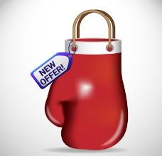 红色拳击手套矢量素材