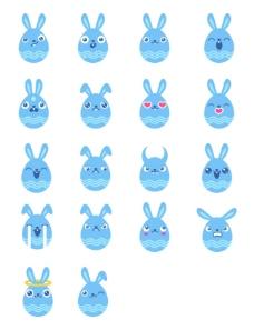 蓝色兔子表情图标下载