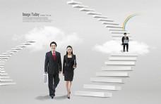 商务人物与阶梯
