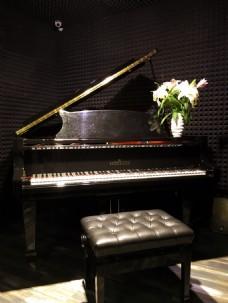 三角钢琴与鲜花