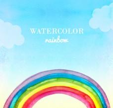 水彩彩虹背景矢量素材