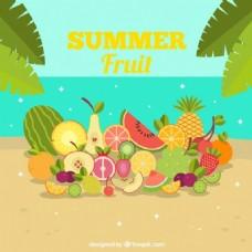 夏天的背景水果