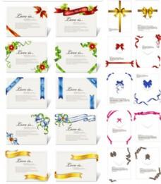 丝带装饰卡片请柬背景矢量素材